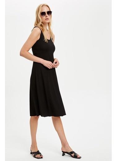 DeFacto Basic Örme Elbise Siyah